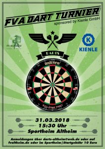 2. FVA Dart Turnier sponsored by Kienle @ Sportheim | Altheim | Baden-Württemberg | Deutschland